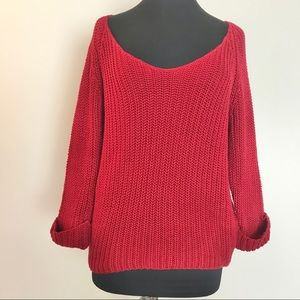 American Rag Red Scoop Neck Sweater Size Large